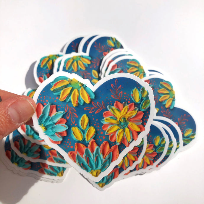 Heart Coral and Blue Sticker
