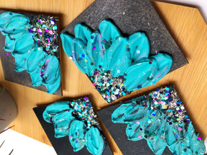 Blue/Turquoise Floral Glitter  Magnet