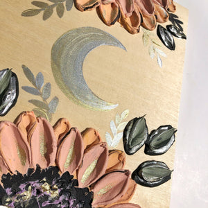 Moon and Peachy Sunflowers (100% wood)