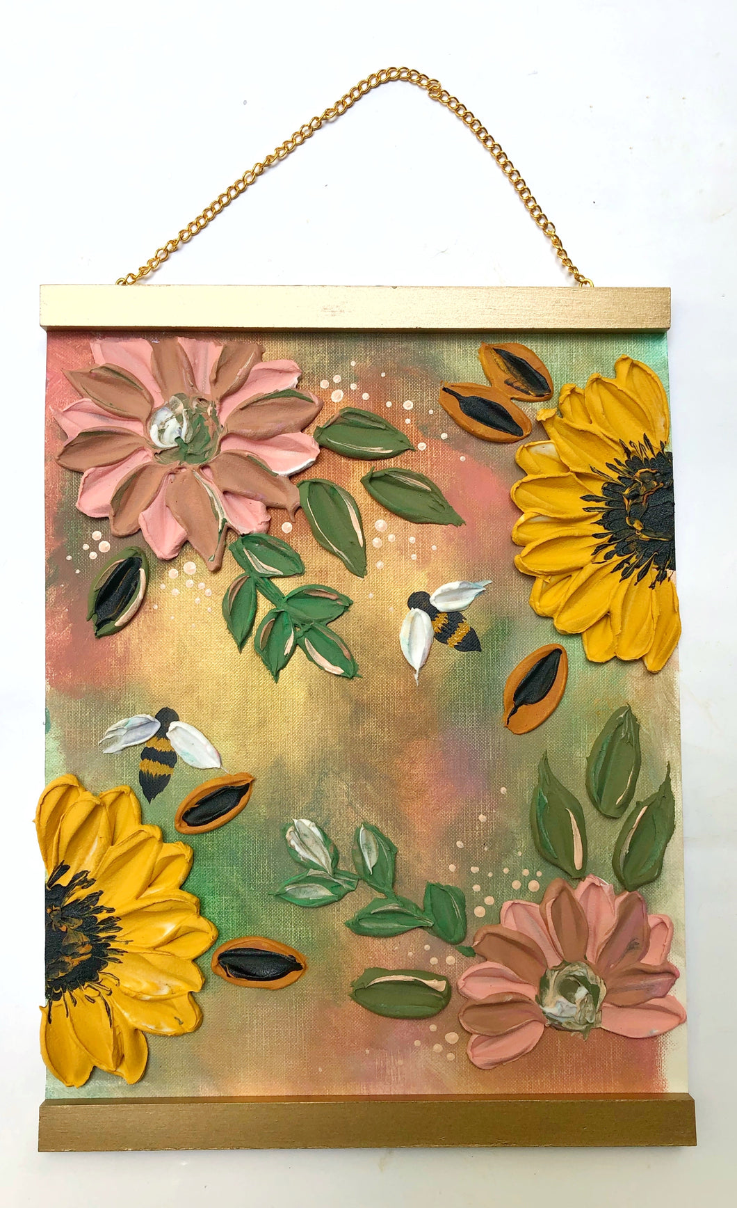 Sunflowers and Bee (Free Wood hanger frame)