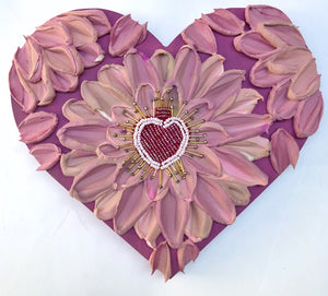 Purple and Pink Corazón with beaded heart