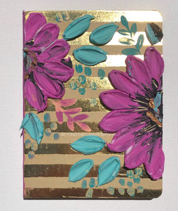 Gold stripes and purple floral notebook