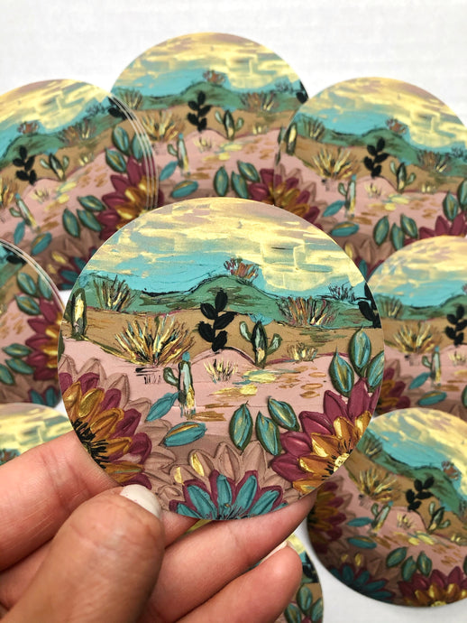 Pink and Blue Floral Desert Satin Sticker