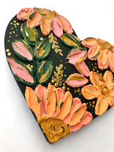 Hunter Green and Peachy Sculptured Florals