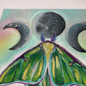 Luna Moth and Moon with Pyrite Crystals