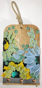 Blue and Green Florals on Wood Necklace Holder