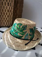 Hand painted Boho Hat with Monstera Leaves