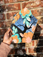 Hexagon Mirror with Neutral and Blue Florals