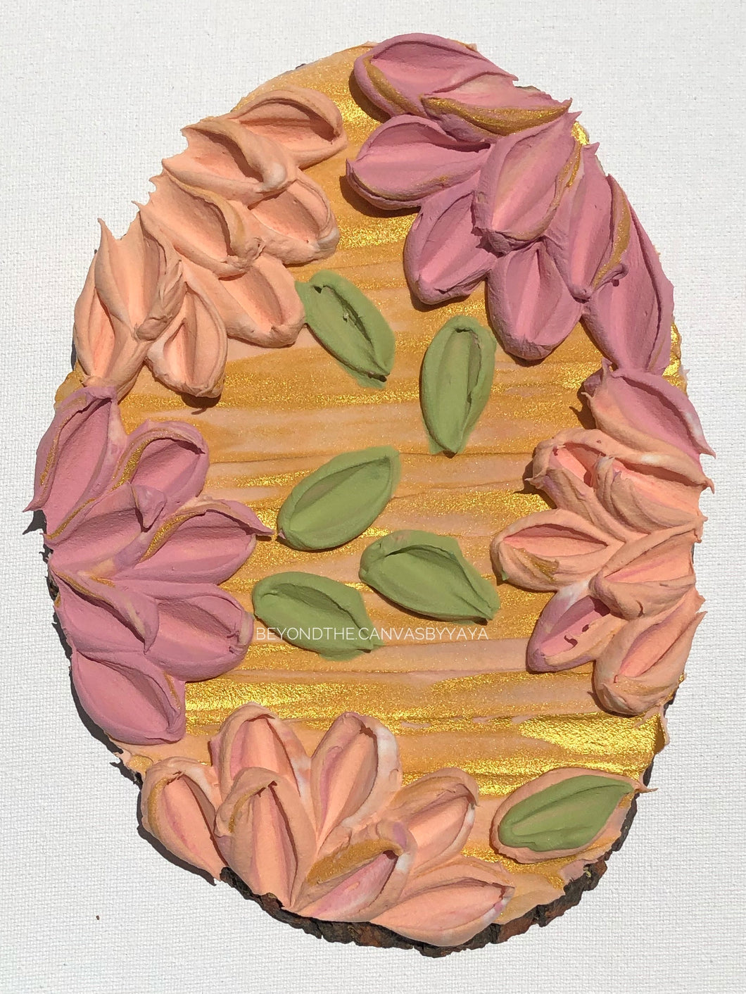 Wood Slice with Textured Florals