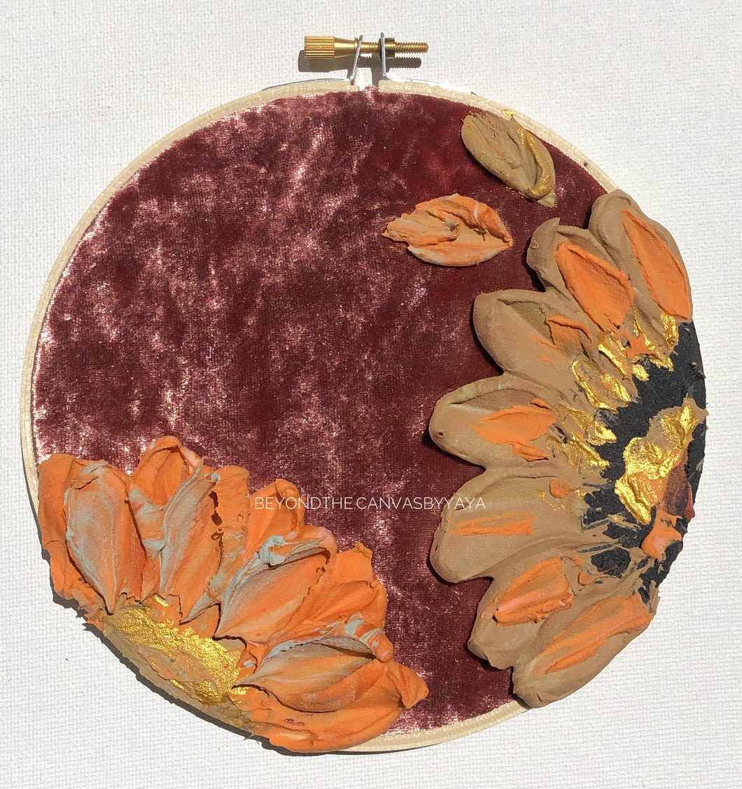 Copper Velvet with Tan and Orange Florals (back paint palette)