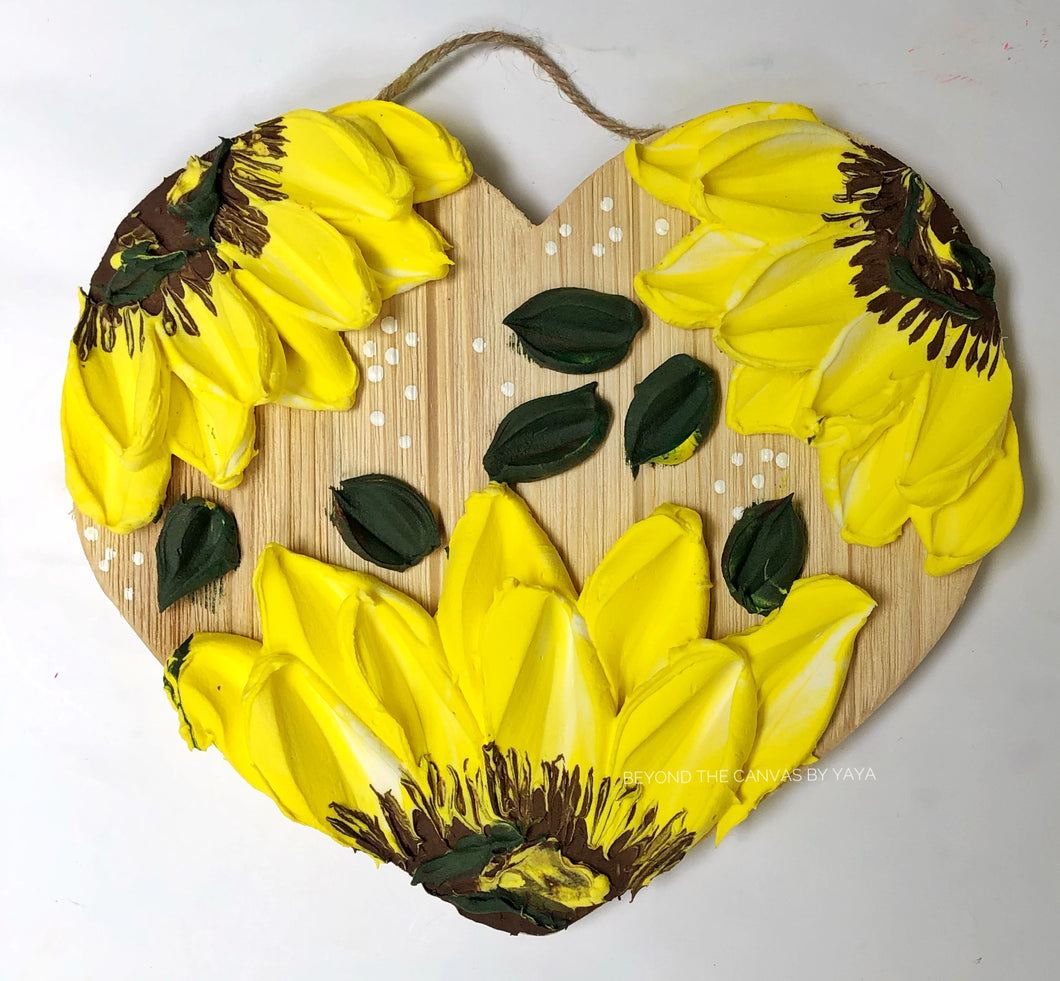 Rustic Sunflowers on Wood