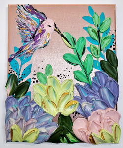 Hummingbird and Pastel Florals