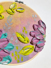 Tie dye and textured florals embroidery hoop