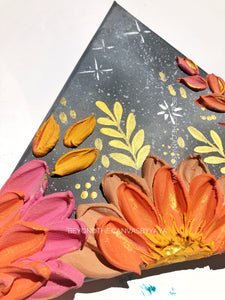 Triangular Moon With Pink and Orange Florals