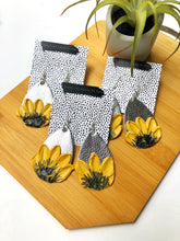 Silver Textured Sunflower Earrings