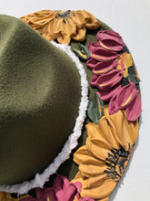 Olive Hat with Yellow and Mauve Florals