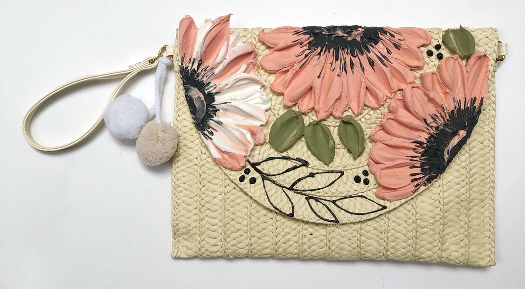 Pastel Pink and White Florals (clutch/purse)