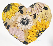 Gold Wooden Heart with Sunflowers
