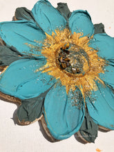Blue and Gold Flower with Tiger Eye Crystals