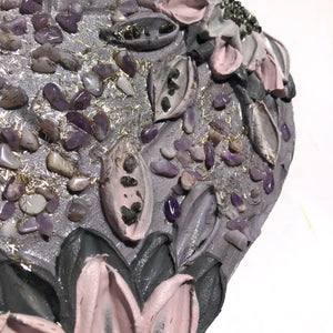 Gray and Purple 100% Wood (pyrite and amethyst crystals)