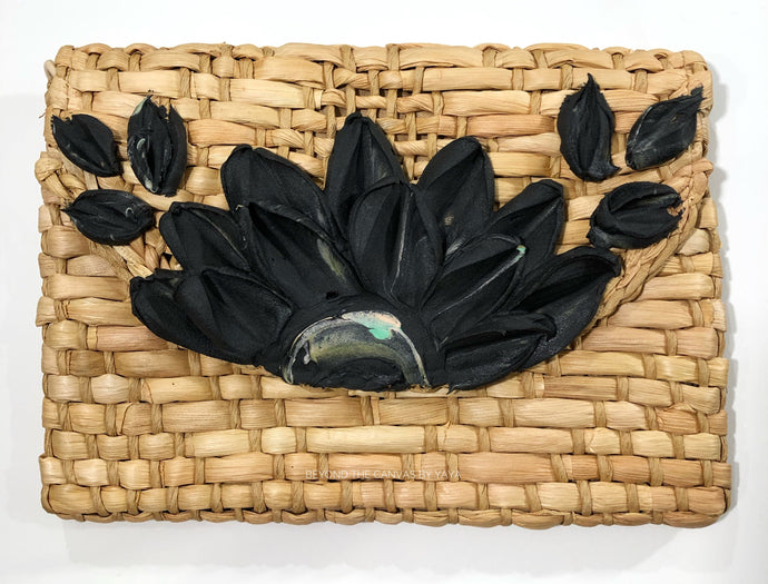 Basket Clutch (Black Floral)