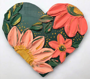 Hunter Green Heart and Peachy Florals
