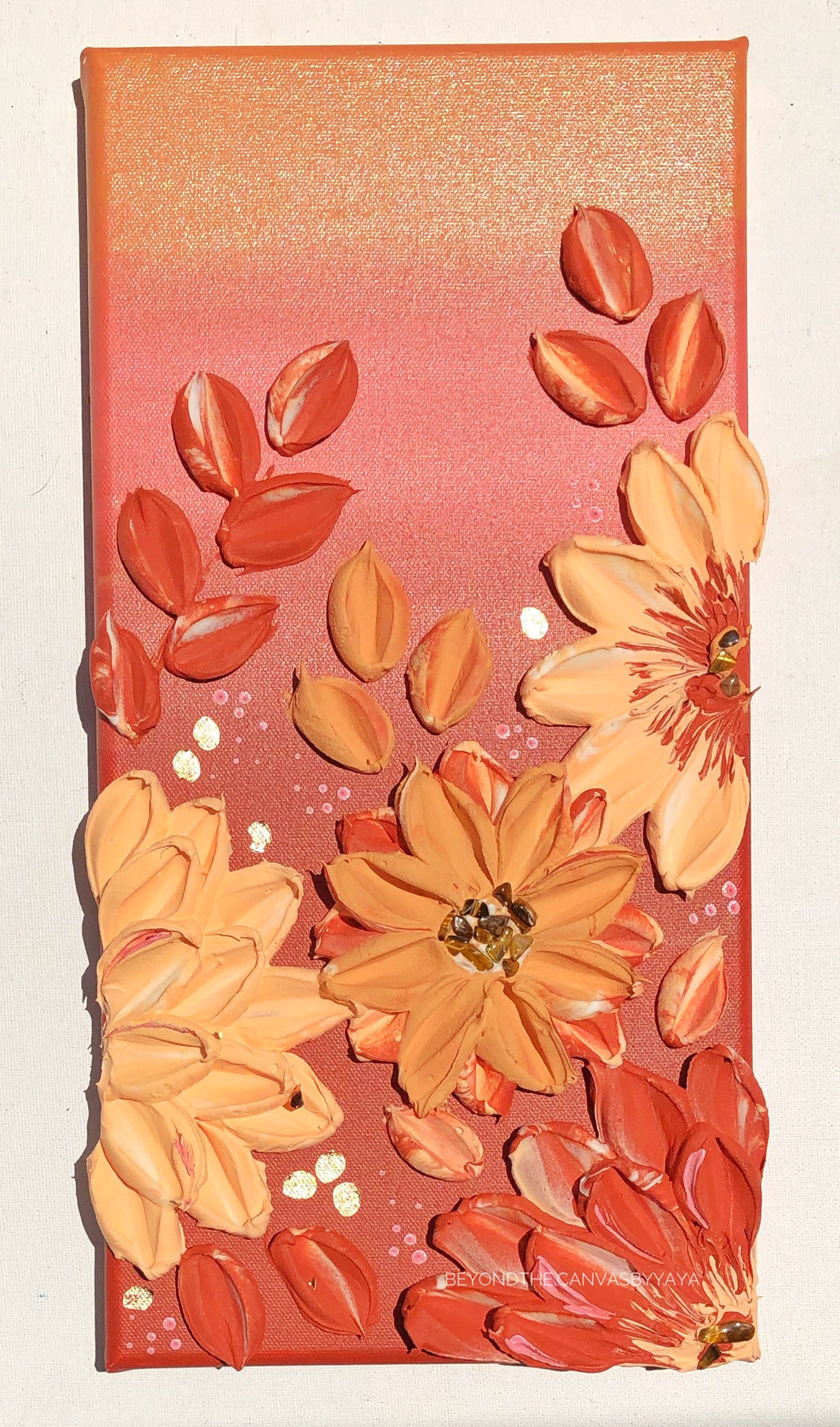 Burnt Orange and Peach with Tiger Eye Florals