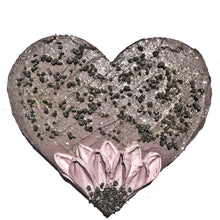 Dusty Gray and Pink Pyrite Crystal Heart