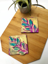 Abstract purple and blue leaf magnet
