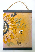 Sunflower and Bee with Gold (Free wood hanger frame)