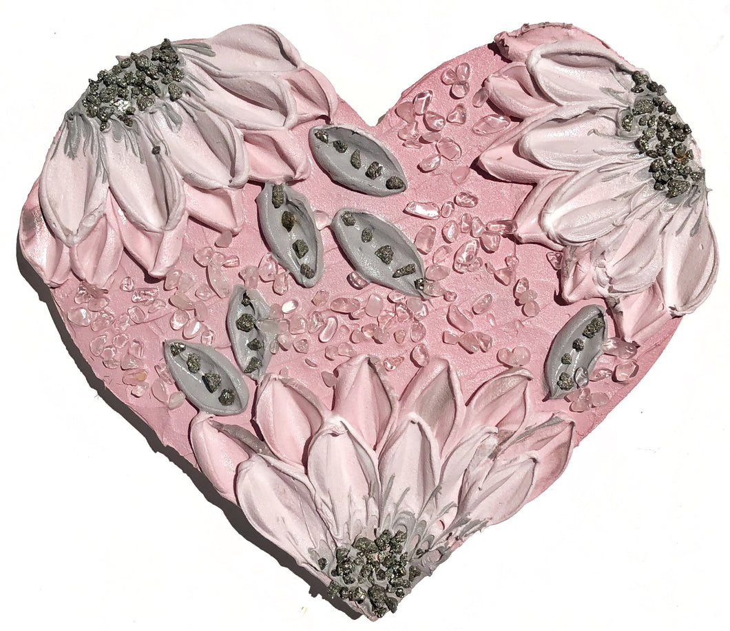 Rose Quartz Heart with Pyrite Crystals