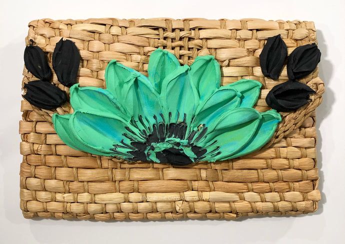 Basket Clutch (Green/Blue Floral)