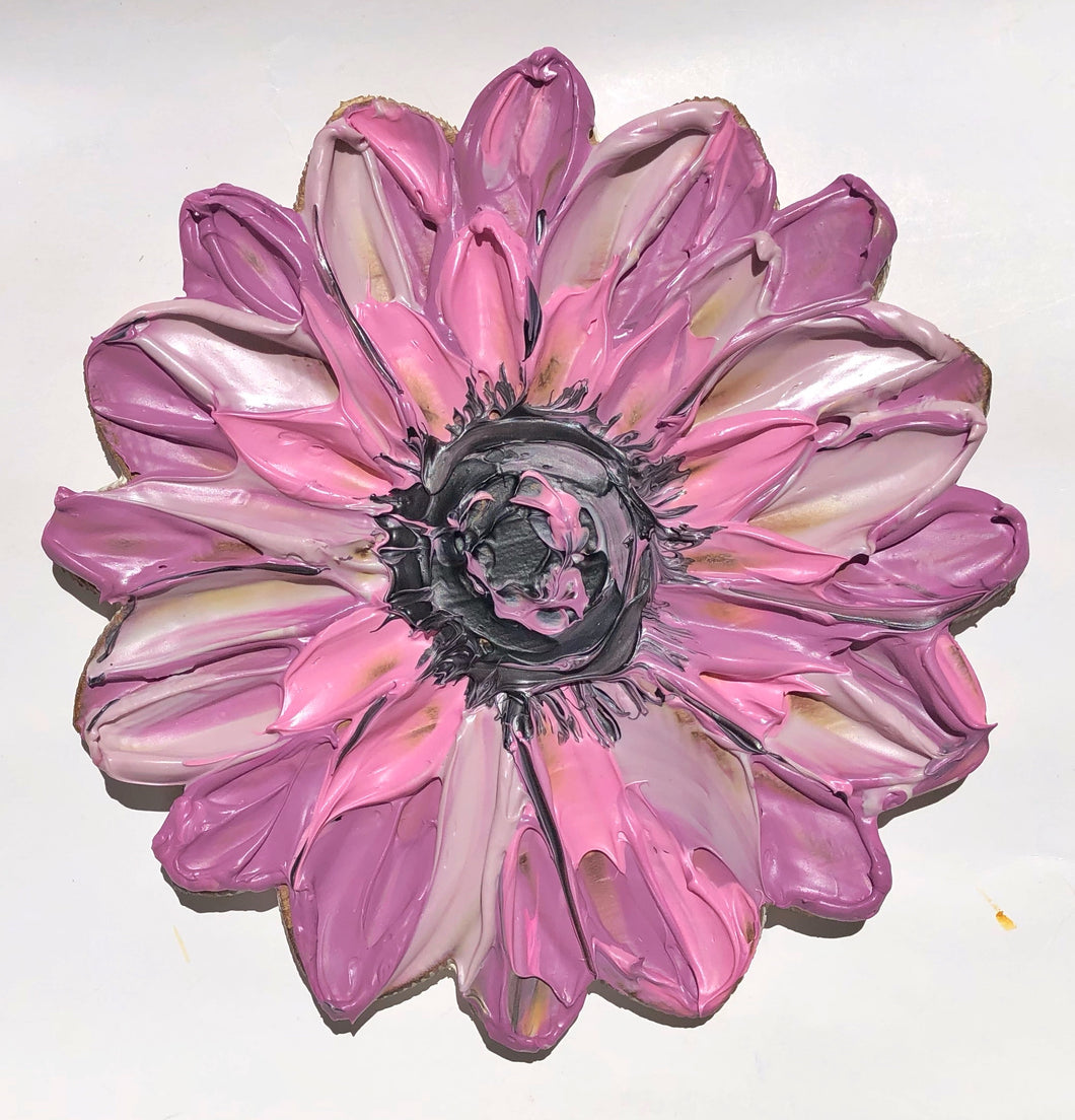 Single Textured Flower Pink and Purple (100% Wood)