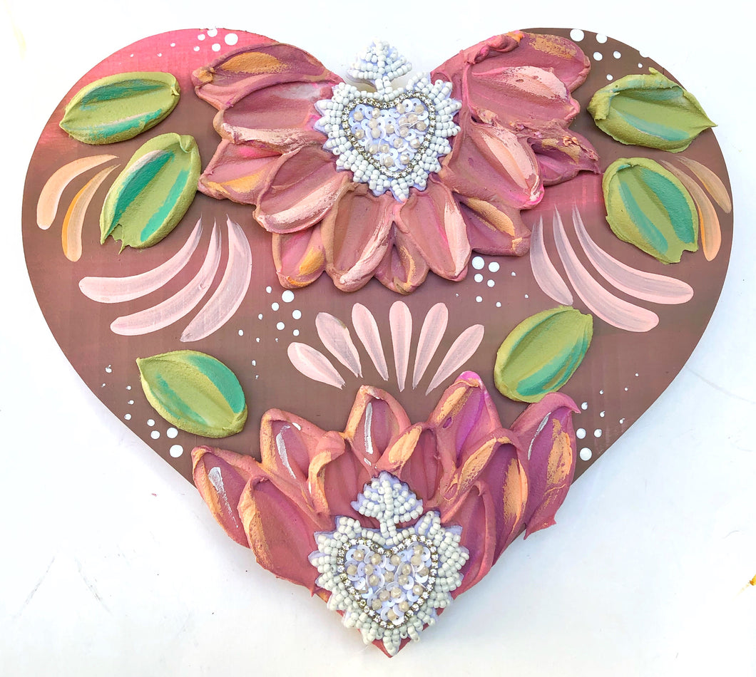 Mexican Corazón with double white beaded hearts