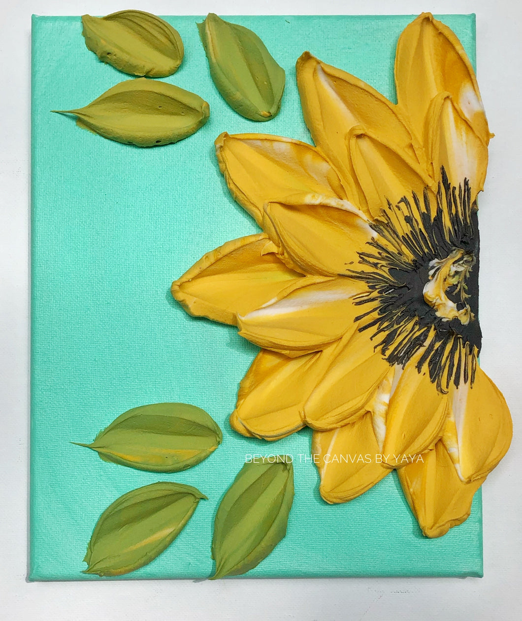 Mint Blue with Yellow Sunflower