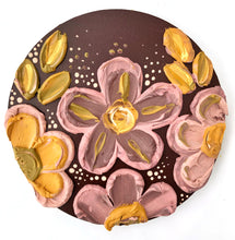 Pastel Pink, Brown and Mustard with Gold Sculptured Flowers