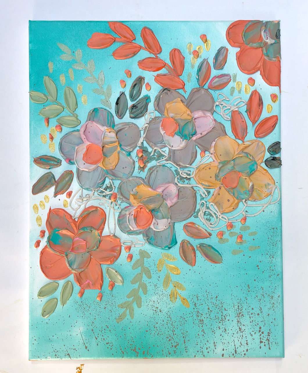 Blue and Coral Textured Florals