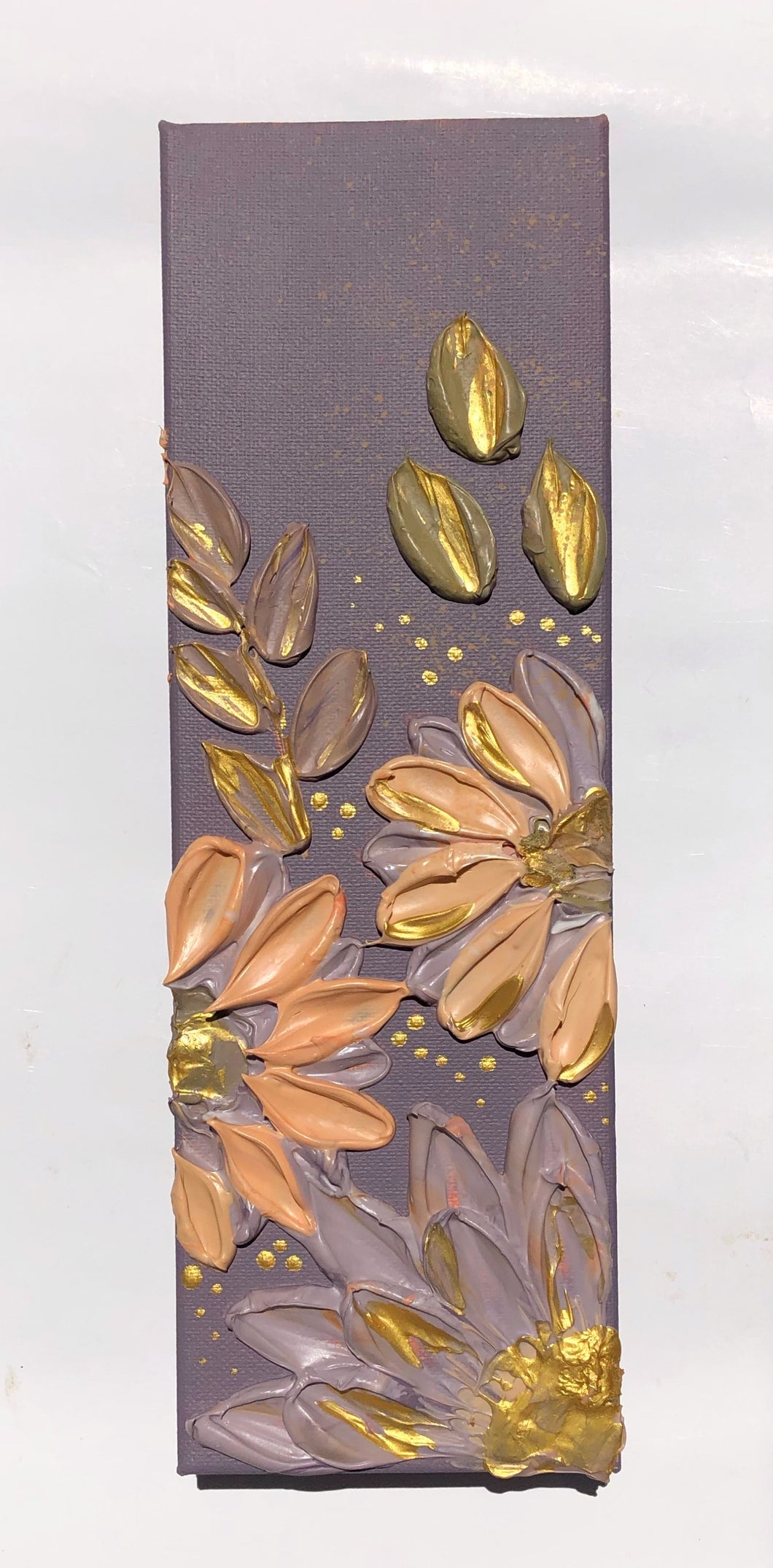 Mauve Purple and Gold Florals (Gallery Wrapped)