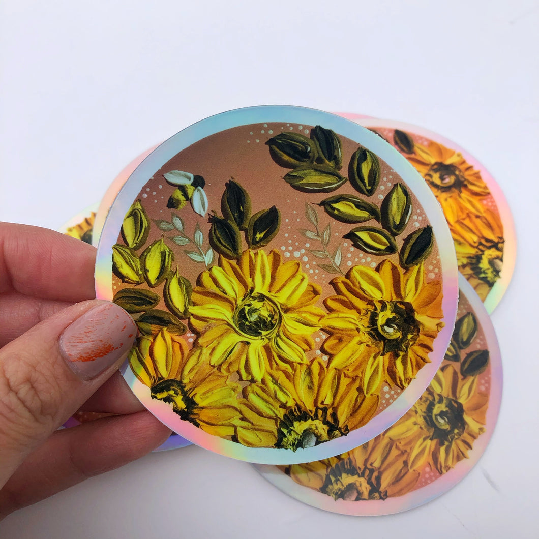 Holographic sunflower sticker