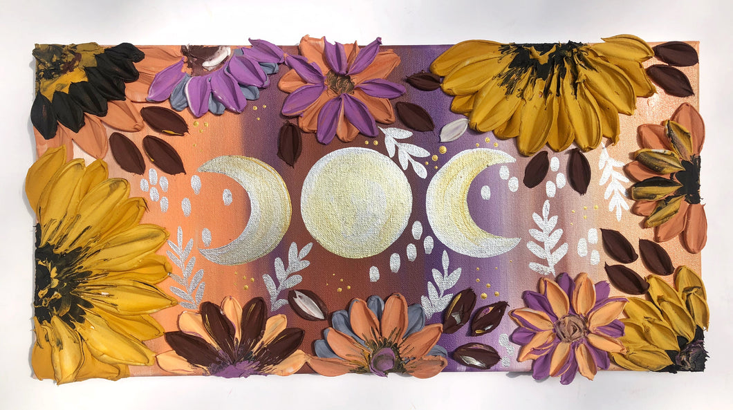 Silver and Gold Moon with Sunflowers
