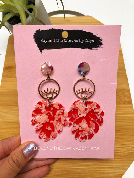 Red Monstera Earrings