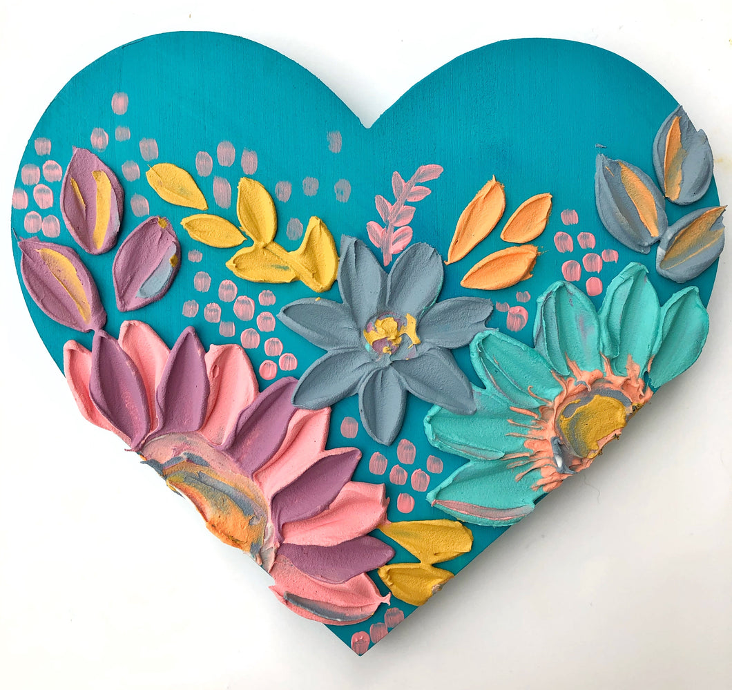 Pastels and Blue Wooden Heart