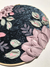 Blue Gray Velvet with Pink Florals (back paint Palette)