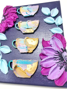 Purple Florals and 3D Coffee Mugs
