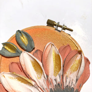 Peachy and Gold Floral (antique embroidery hoop)