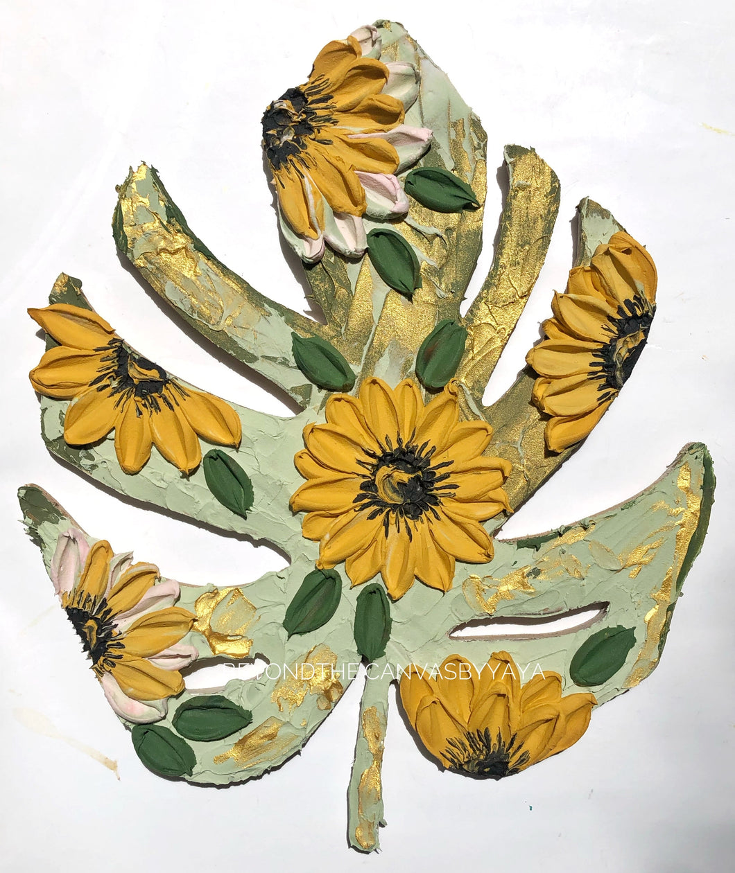 Wood Monstera Leaf with Sunflowers