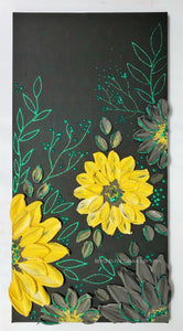 Sunflowers and Teal Green Glitter