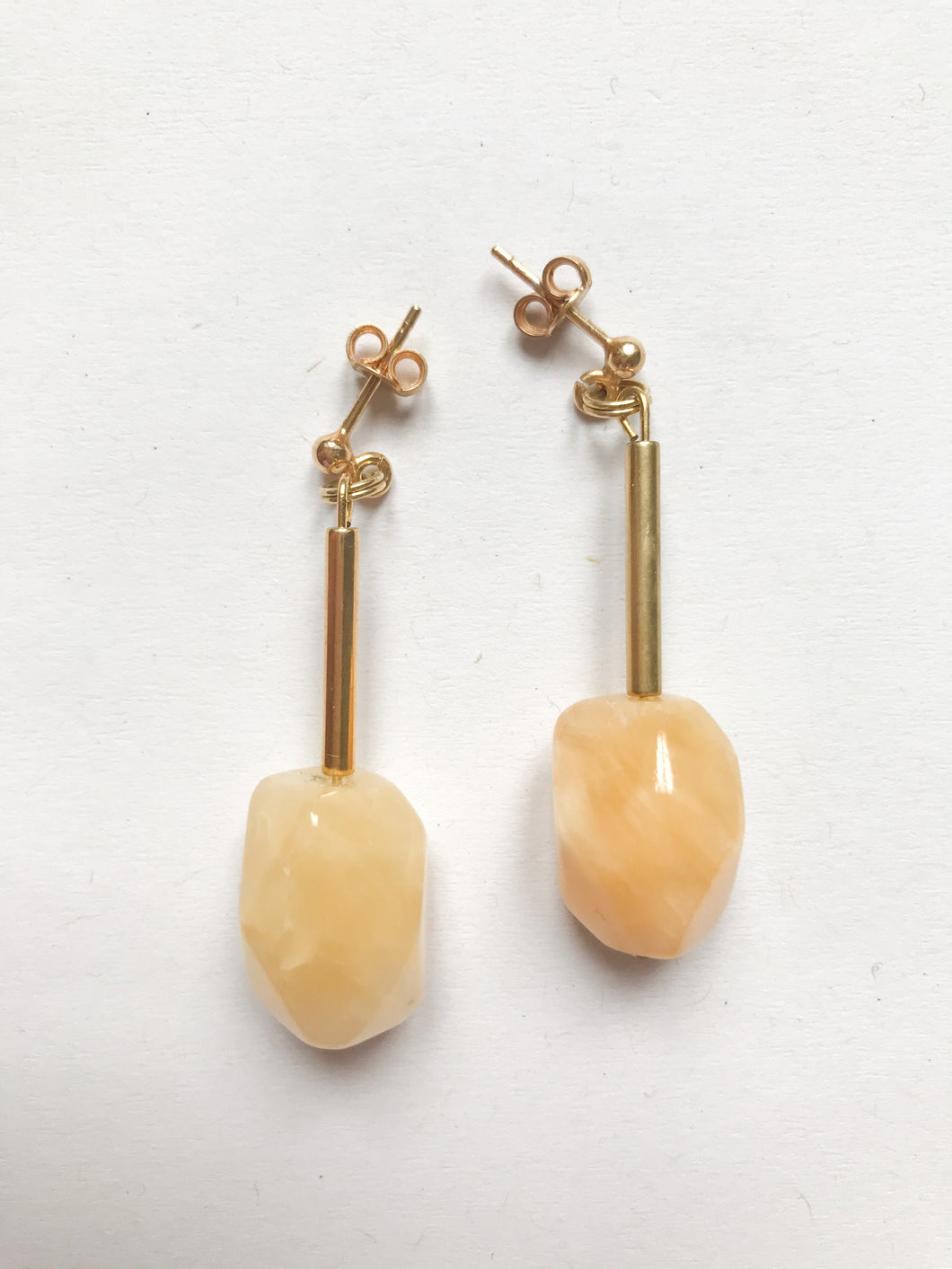 Citrine Earrings with gold plated stab