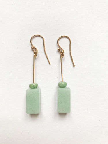 Squared Chrysopras Earrings in dark green