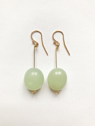Oval Chrysopras Earrings in light green
